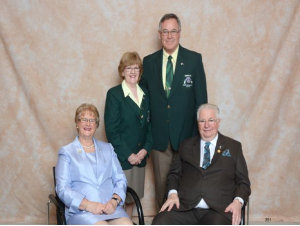 2013-14 District Governor Stuart with Lions Lady Carol, International President Barry Palmer and  Lion Anne.